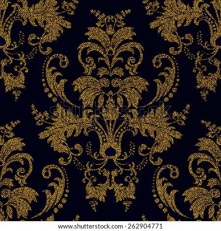 Seamless damask golden pattern, jeans texture effect - stock vector