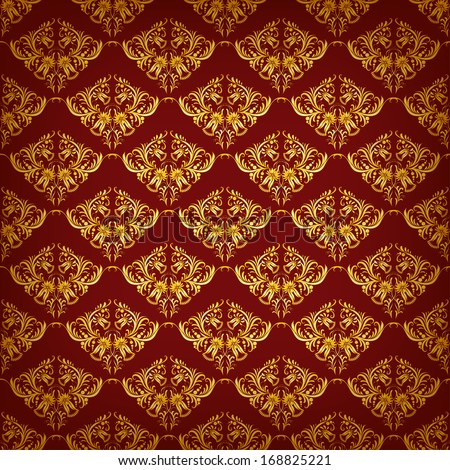 Seamless damask ornament of floral elements.  Royal wallpaper. - stock vector