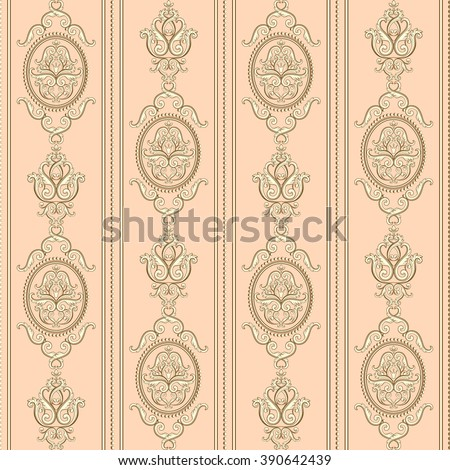 Seamless damask pattern. Beige texture in vintage rich royal style. Vector illustration. Can use as background for birthday card, wedding invitations, textile print, wallpaper, wrapping paper - stock vector