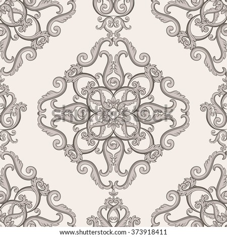 Seamless damask pattern. Brown and  beige texture in vintage royal style. Vector illustration. Can use as background for birthday cards, wedding invitations, textile print, wallpaper, wrapping paper - stock vector
