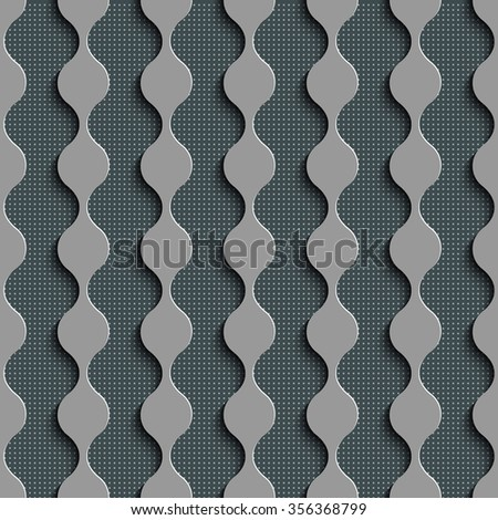 Seamless Damask Pattern. Curved Shapes Background. Gray Regular Texture - stock vector