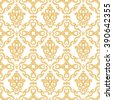 Seamless damask pattern. Gold and white texture in vintage rich royal style. Vector illustration. Can use as background for birthday card, wedding invitations, textile print, wallpaper, wrapping paper - stock vector