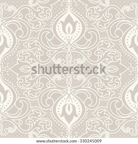 seamless damask pattern in beige - stock vector