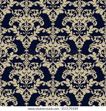 Seamless damask pattern. Ornamental background with pattern. Can be used for design fabric, paper, packaging, invitation, greeting card, cover, banner, poster vintage antique style - stock vector