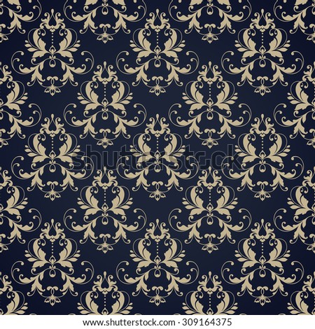 Seamless damask pattern. Ornamental background with pattern for invitation, greeting card, textile or paper scrapbook design - stock vector