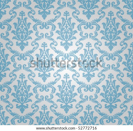 seamless damask pattern, vector - stock vector