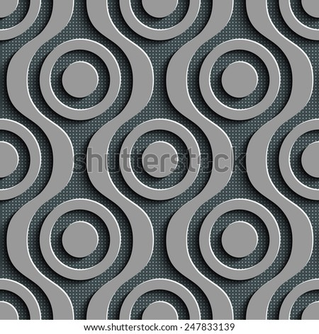 Seamless Damask Pattern. Vector Circle Background. Gray Regular Texture - stock vector