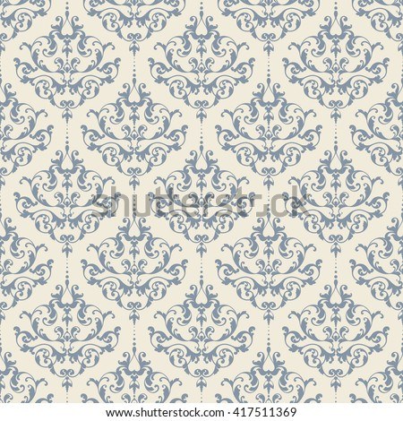 Seamless damask pattern. Vintage ornamental background with victorian pattern - stock vector