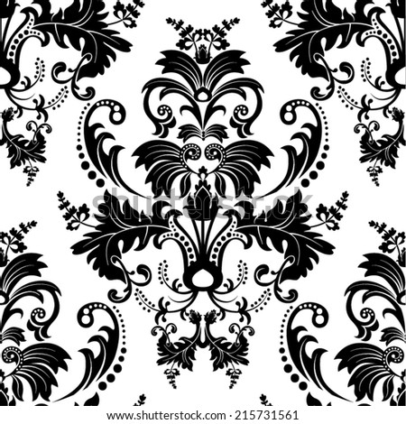 Seamless damask pattern. White and black wallpaper - stock vector