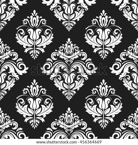 Seamless damask vector pattern. Traditional classic orient ornament. Black and white pattern - stock vector
