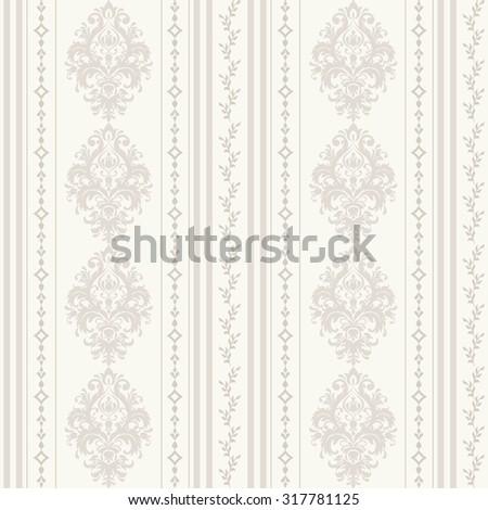 seamless damask wallpaper in pastel - stock vector