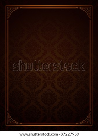 Seamless damask with ornamental frame - stock vector
