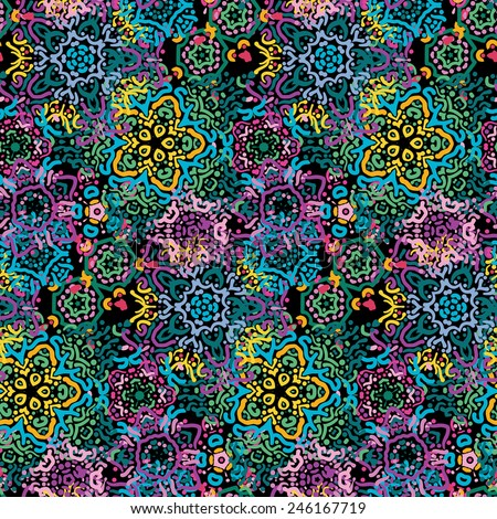 Seamless dark background patterns and lace - stock vector