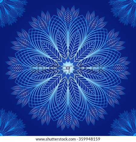 Seamless dark blue vintage christmas pattern with blue lacy snowflakes, vector - stock vector