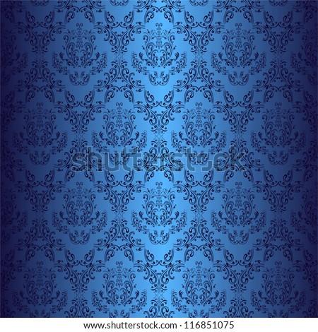 Seamless dark blue wallpaper in style retro. - stock vector