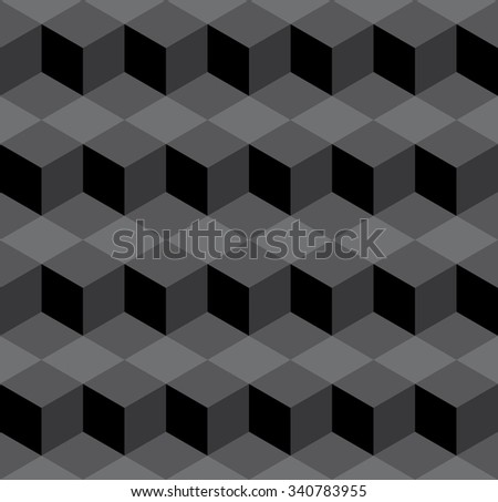 Seamless dark gray isometric cubes levels puzzle illusion pattern vector - stock vector