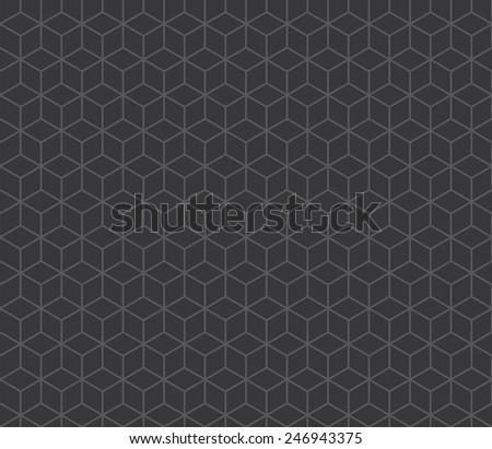 Seamless dark gray isometric cubes pattern vector - stock vector