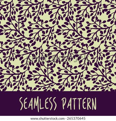 Seamless dark stylish pattern with purple foliage Vector illustration eps 10 - stock vector