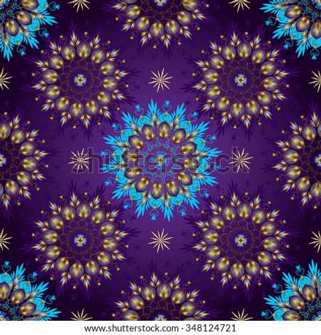 Seamless dark violet vintage christmas pattern with gold lacy glowing circles, vector - stock vector