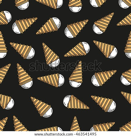Seamless decor pattern of ice cream on dark background. Smooth line style.