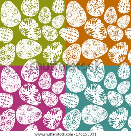 seamless decorated easter eggs - stock vector