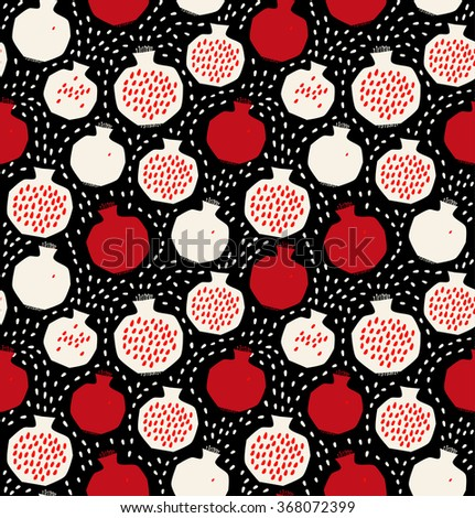 Seamless decorative black and red pattern with pomegranates. Sliced pomegranates and seeds - stock vector