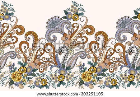 seamless decorative border with yellow  flowers and paisley in brown  gray tones  on a light  background - stock vector