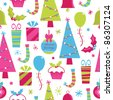 seamless decorative christmas pattern with clipping path - stock vector