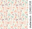 Seamless decorative love pattern. Cute background with hearts, angel wings, lollipops, sugarplums and snowflakes. Endless doddle texture - stock vector