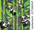 Seamless decorative panda bamboo illustration background pattern in vector - stock vector