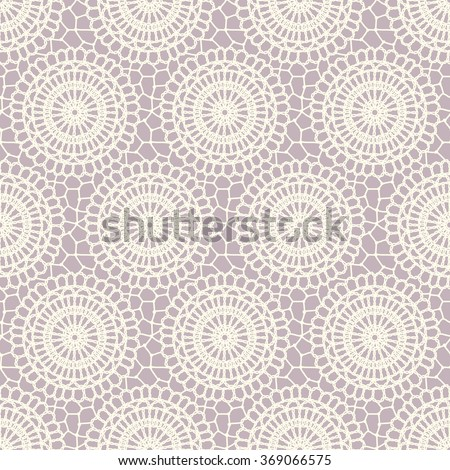 Seamless decorative pattern. Vintage. Napkins crocheted. Freehand drawing.