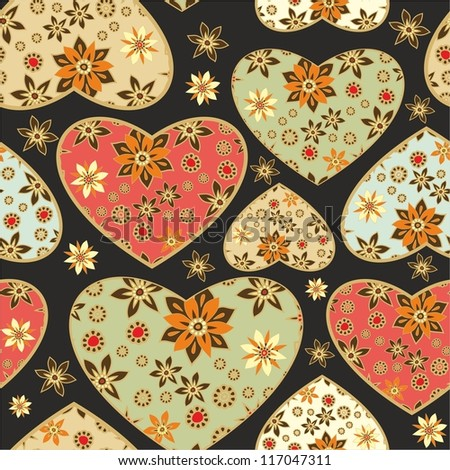 seamless decorative pattern with floral hearts - stock vector