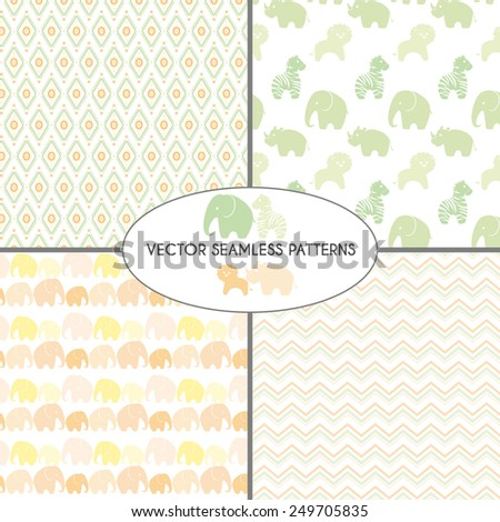 Seamless decorative patterns with animals and  abstract lines. Pattern set for baby shower, kid's birthday party invitations.  - stock vector