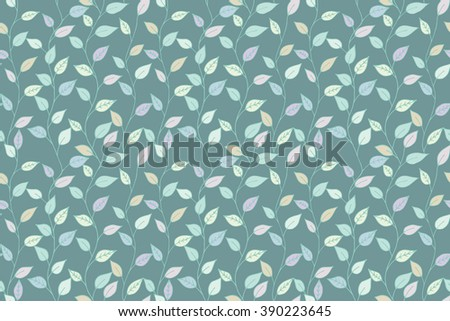 Seamless decorative template texture with colorful leaves. Seamless stylized leaf pattern. Vector Illustration - stock vector