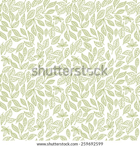 Seamless decorative template texture with green contour leaves - stock vector