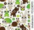 Seamless deer turtle bunny animal wallpaper pattern in vector - stock vector