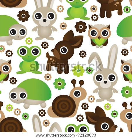 Seamless deer turtle bunny animal wallpaper pattern in vector - stock vector