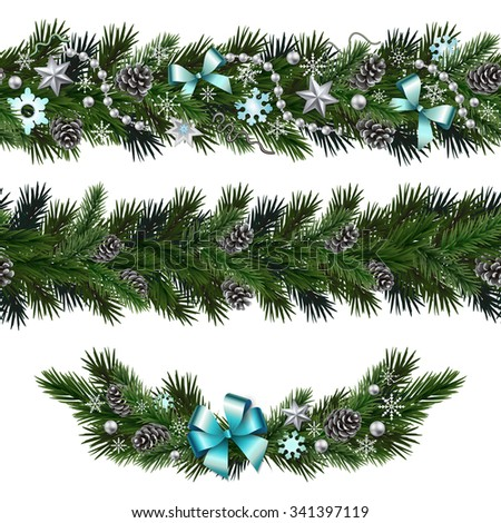 Seamless design elements for Christmas and New Year design isolated on white background. Garlands and vignette of fir branches with snowflakes, branches, pine cones, ribbons, stars, beads. - stock vector