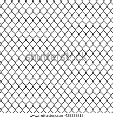 Seamless detailed chain link fence pattern texture. - stock vector