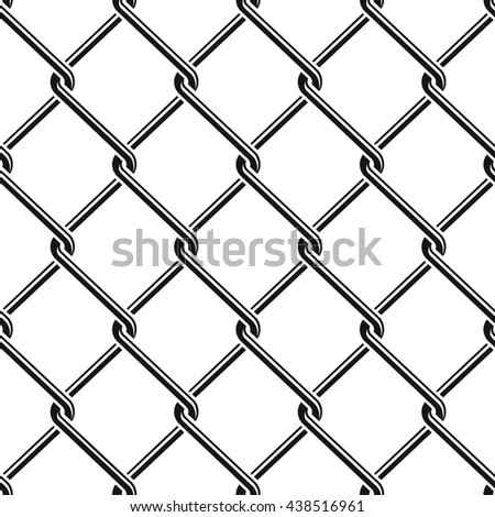 Seamless detailed chain link fence pattern texture - stock vector