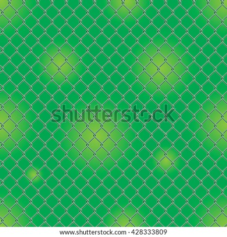 Seamless detailed chain link fence pattern texture with garden background. - stock vector