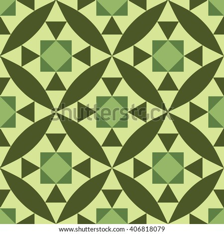Seamless diagonal pattern with geometric and floral pattern green - stock vector