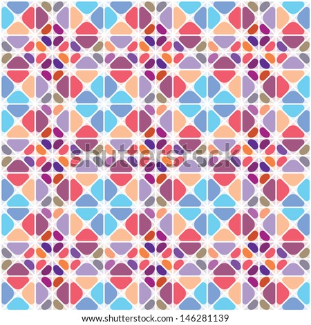 Seamless diamond-shaped texture stained-glass window  - stock vector