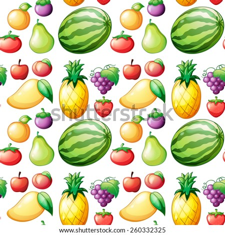 Seamless different kind of fruits - stock vector