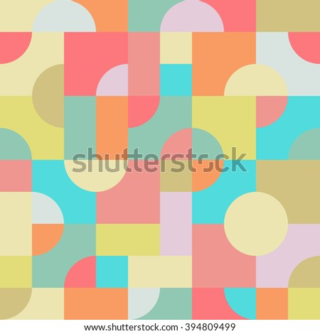 Seamless, digitally illustrated tile of an abstract and colorful pattern consisting of overlapping squares, rectangles and circles. Vector EPS8