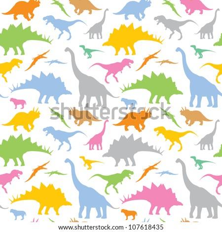 Seamless dinosaur pattern - vector illustration - stock vector