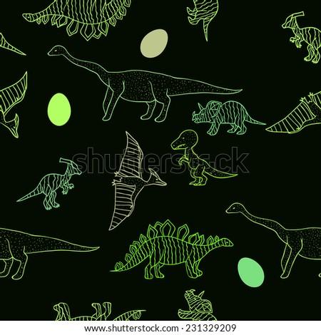 Seamless dinosaurs pattern - stock vector