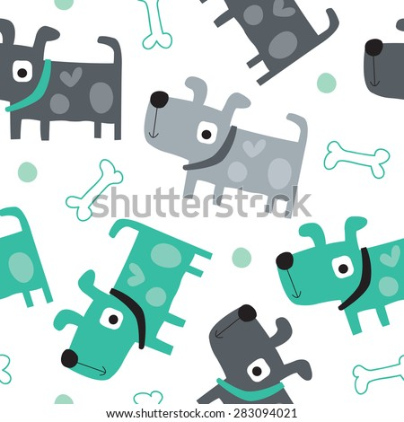 seamless dog pattern vector illustration - stock vector