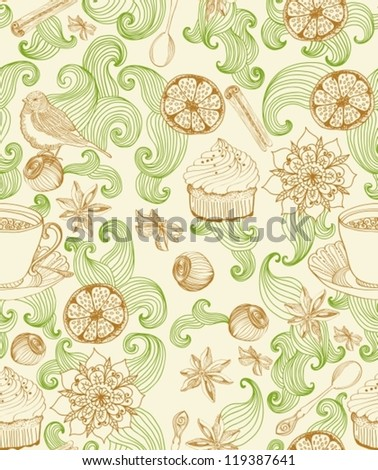 Seamless doodle background for tea time, illustration for design, vector - stock vector