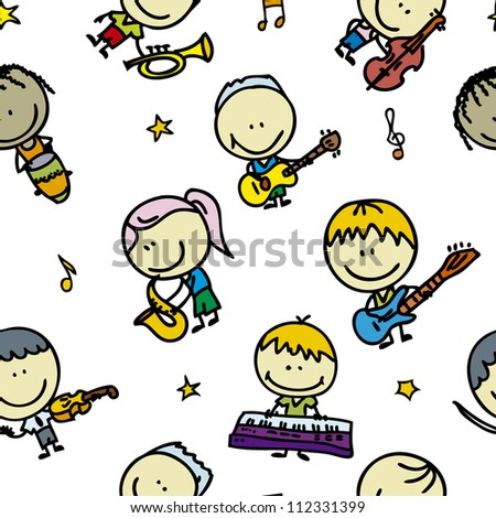 Seamless doodle background with happy children band with musical instruments - stock vector